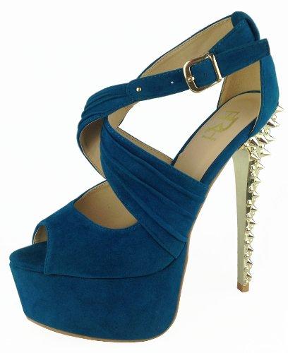 Fahrenheit Women'S Dior-07 Open Toe Pumps High Heel Spike Studded Suede (7, Peacock)