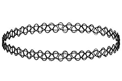 Kaizer Jewelry Shraddha Kapoor Style Vintage Stretchable Fake Black Tattoo Choker Necklace For Women / Girls (Forever Gift)