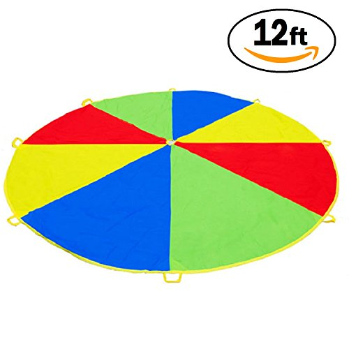 12 Foot Play Parachute for Kids 8 Handles with Storage Bag & Fun Game Guide - Gymnastics Team Building Activity and Group Toy