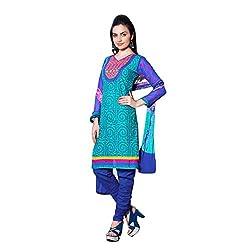 Sinina Women's Cotton Embroidered Straight Salwar Kameez Un Stitched Dress Material