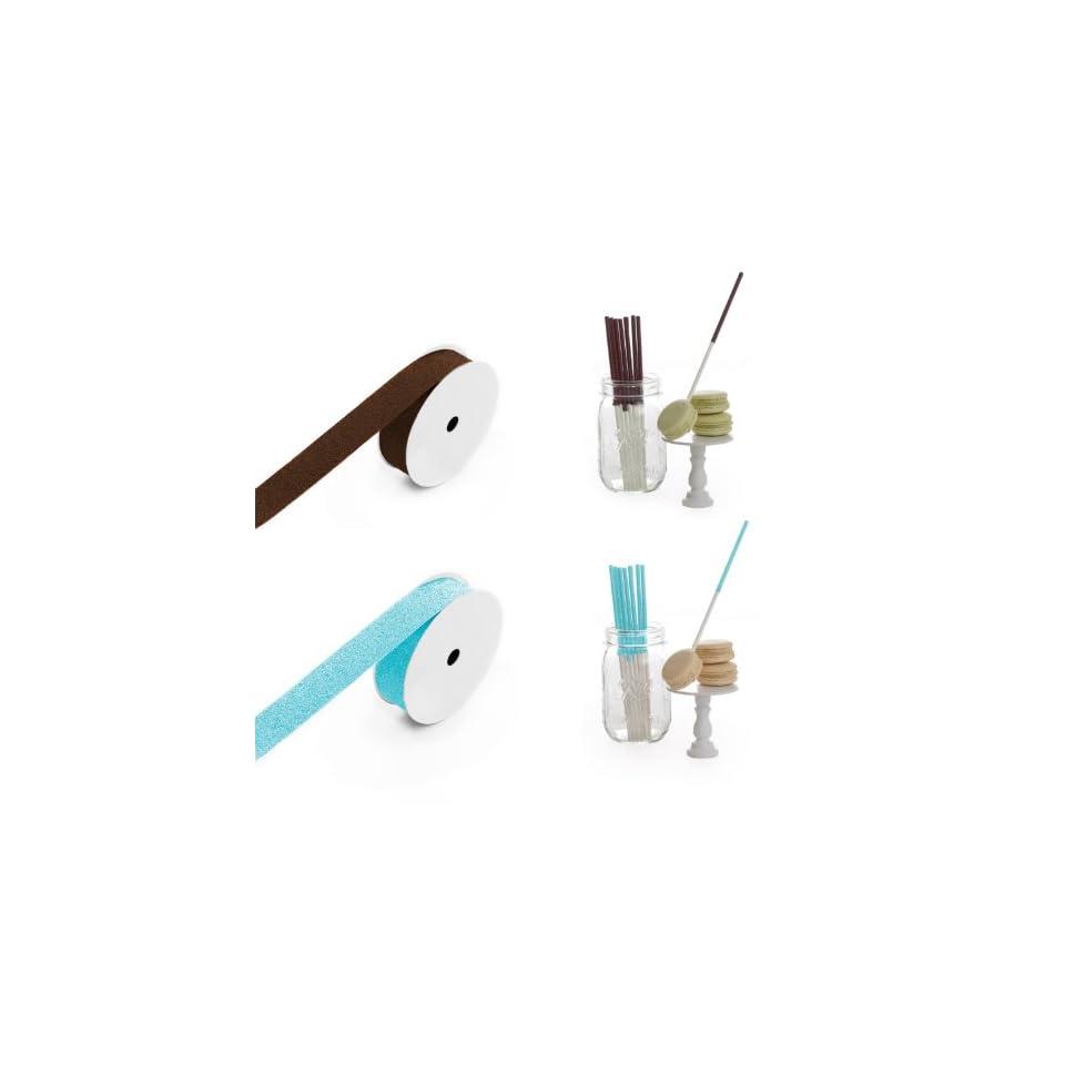 Dress My Cupcake 6 Inch Glitter Cakepop and Dessert Stick DIY Kits, Boy Baby Shower Glitter Collection, 500 Pack