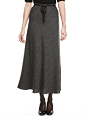 M&S Collection Textured A-Line Long Skirt with Belt