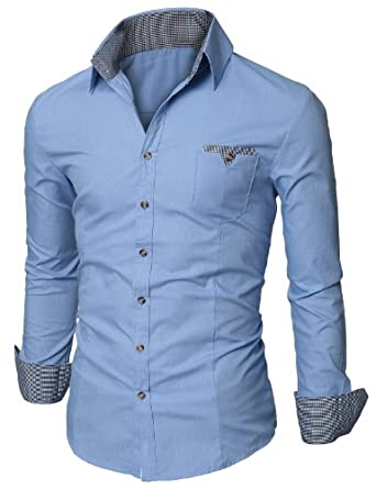 Doublju Mens Dress Shirt with Contrast Neck Band BLUE (US-S)