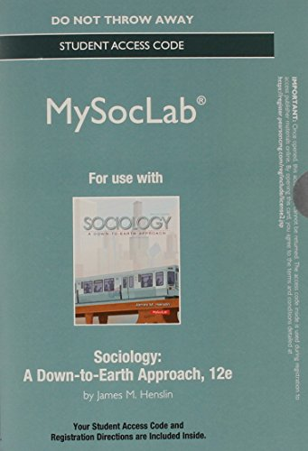 NEW MySocLab without Pearson eText -- Standalone Access Card -- for Sociology: A Down-to-Earth Approach (12th Edition) (Mysoclab (Access Codes)) (Rent Mastering Sociology compare prices)