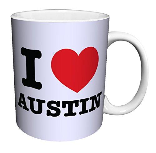 I Heart Austin (Texas) Novelty City Pride Quote Decorative Ceramic Gift Coffee (Tea, Cocoa) 11 Oz. Mug