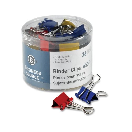 """Business Source Binder Clips, Small 3/4""""W, 3/8"""" Capacity, 36"""