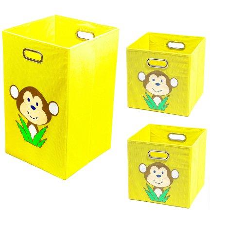 3 PIece Folding Storage Set: 1 Laundry Hamper and 2 Storage Bins - Yellow Monkey