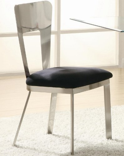 Set of 2 Dining Chairs Black Microfiber Seat Metal Back and Base