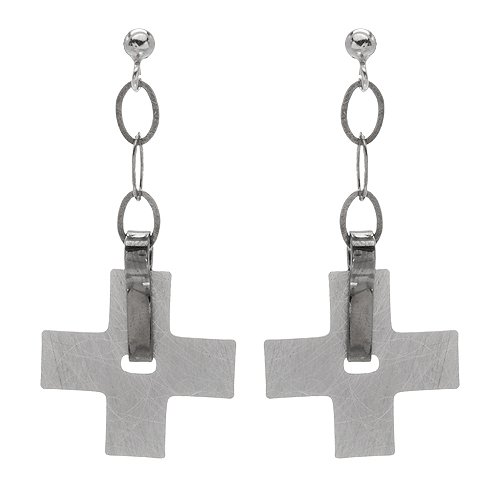 Made in Italy Pleasant Cross Earrings Beautifully Designed in 925 Sterling silver. Total item weight 7.0g Length 57mm