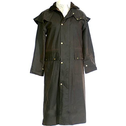 LONG WAX WAXED STOCKMANS RIDING COAT JACKET UNISEX ANTIQUE BROWN DOUBLE FOLD WAY WATERPROOF ALL SIZES