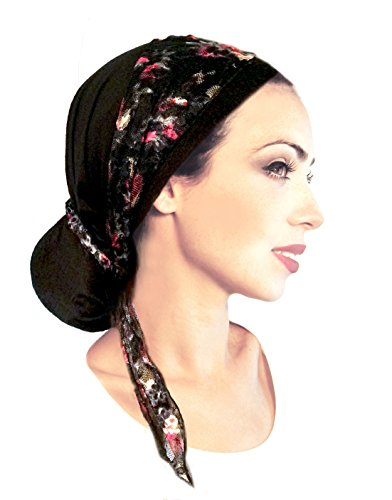 Black Pre Tied Head Scarf with Stunning Red Rose Floral Lace Wrap -119 (Pre Tied Tichel compare prices)