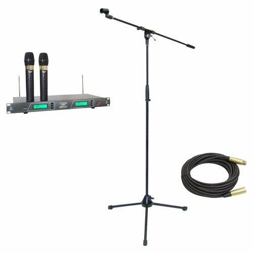 Pyle Mic And Stand Package - Pdwm2550 19'' Rack Mount Dual Vhf Wireless Rechargeable Handheld Microphone System - Pmks2 Tripod Microphone Stand W/Boom - Ppmcl50 50Ft. Symmetric Microphone Cable Xlr Female To Xlr Male