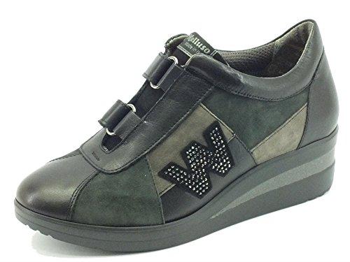 Sneakers Melluso Walk per donna in pelle e nabuk nero doppio velcro (Taglia 38)