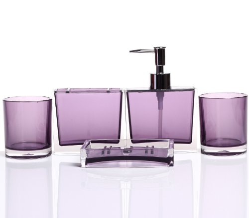 Hqdeal luxurious bathroom accessory acrylic set of five for Bathroom accessories acrylic