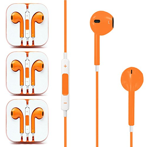 3X Good Quality Orange Earphone Earbud Earbud Headset With Stereo Volume Control Mic For Apple Iphone 5 5S 4 4S Or Any Devices ( Htc / Samsung ) With 3.5Mm Audio Jack