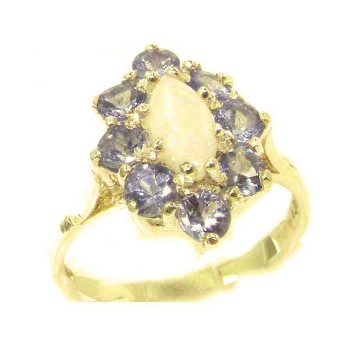 Luxury Ladies Solid British 14K Yellow Gold Natural Opal & Tanzanite Cluster Ring - Size 9.75 - Finger Sizes 5 to 12 Available - Perfect Gift for Birthday, Christmas, Valentines Day, Mothers Day, Mom, Mother, Grandmother, Daughter, Graduation, Bridesmaid.