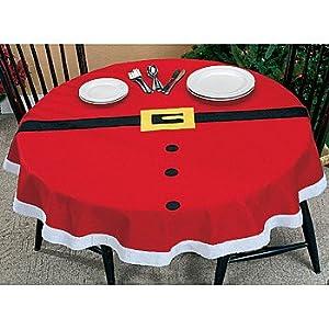 """Amazon.com: 57"""" ROUND SANTA CLAUS SUIT TABLECLOTH: Home & Kitchen"""