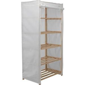 hsb value range polycotton and wood 5 shelf unit cream with