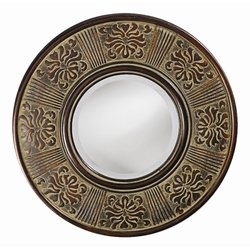 Aria Wall Mirror in Antique Beige with Burgundy Embossed Accents (Howard Elliott)