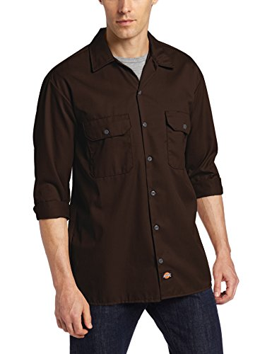 Dickies - Camisa con manga larga para hombre, Marrón (dark brown / dunkelbraun), XXL