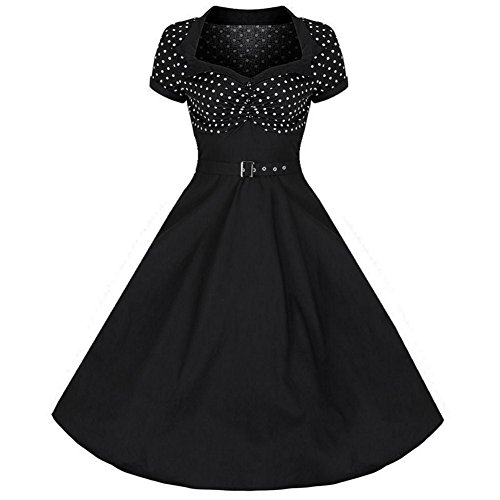 Modern Grease 50's Flare Black White Polka Dot Dress