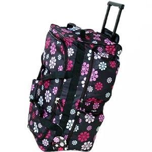 Wheeled Trolley Holdall Luggage Bag 70 L Black Daisy by Borderline