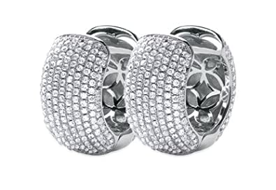 D Earrings Creoles Silver Rhodie Fully Studded D Cubic Zirconia Collection)