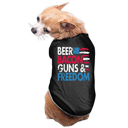 Beer Bacon Guns And Freedom Cute Dog Coats L Black (Dog Beer Holder compare prices)
