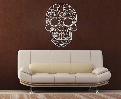 Oultined-Sugar Skull, lavavetri. Decalcomania in vinile/Transfer Mural, rosso, Medium - (h) 60cm x (w) 45cm