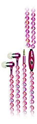 Pearl Necklace Earphone Handsfree with Play controller and mic ZT13498 Light Pink Color