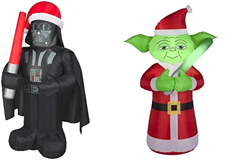 Gemmy Inflatable Darth Vader 5' & Yoda 3.5' Christmas Inflatable Bundle Star Wars Fan!
