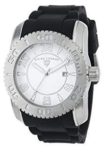 "Swiss Legend Men's 20068-02SET ""Commander"" Stainless Steel, Black Silicone, and White Dial Watch Set"