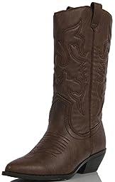 Soda Reno-S Western Boots, Dk Tan Pu, 7.5