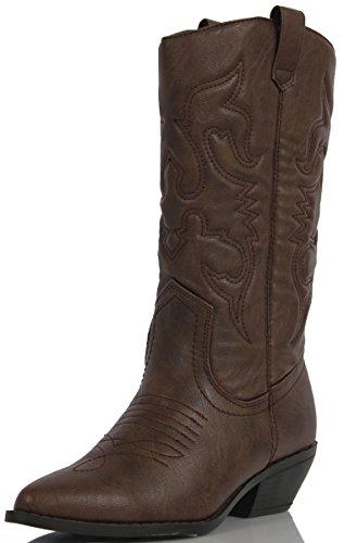 Soda Women's Reno Western Cowboy Pointed Toe Knee High Pull On Tabs Boots, Dark Tan, 9 M US
