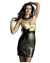 Clarisse Bright Short Dress 2052, Gold/Black, 2
