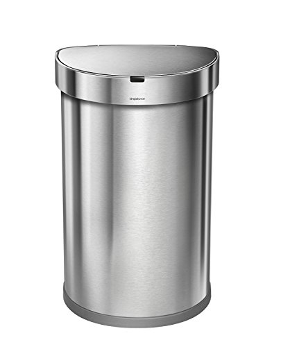 simplehuman Stainless Steel Semi-Round Sensor Can, Touch-Free Automatic Trash Can with Liner Pocket, 45 L / 12 Gal