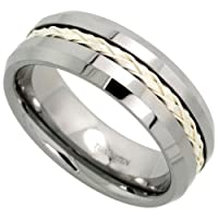 Tungsten 8 mm (5/16 in.) Comfort Fit Flat Wedding Band Ring Inlaid w/ Braided Sterling Silver Strand (Available in Sizes 7 to 14)