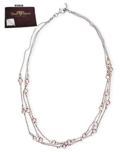 925 Sterling Silver Collar Necklace Triple Strand Lovely Faux Pink Pearl CZ Bezel Setting - Incl. ClassicDiamondHouse Free Gift Box & Cleaning Cloth