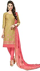 Clickedia Women's Bombay Cotton Embroidered Green & Pink Salwaar Suit Dupatta - Dress Material