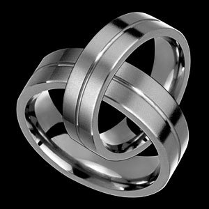 Cyrus - size 4.25 Single Groove Flat Style Titanium Wedding Band Set