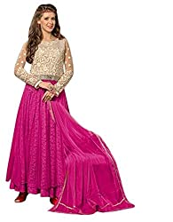 Vibes Womens Net Patch Work Anarkali Dress Material (V217-6007 _Pink _Free Size)