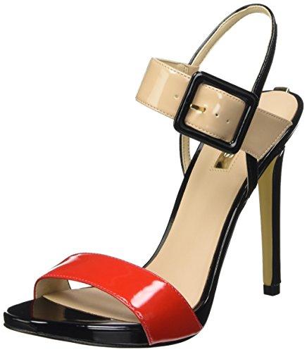 Guess Patent Pu Sandali con cinturino alla caviglia, Donna, Rosso (Conud), 37