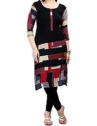 Kurti (Om Fashion Women's Crepe Printed Black & Kurti) ( Free Size Altrable Till 42-44 OR XL)
