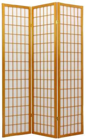 Asian Decor - 6ft. Japanese Double Sided Window Pane Shoji Privacy Screen - 3 Panel Honey