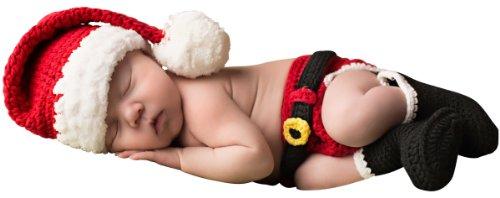 Melondipity Santas Little Helper Christmas Baby Hat, Diaper Cover & Booties Set (6 - 12 Months) (Santa Claus Cap)