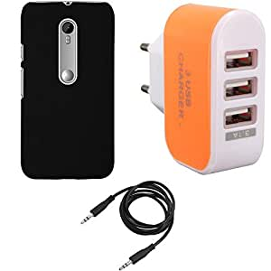 NIROSHA Cover Case Charger for Motorola Moto Xplay - Combo