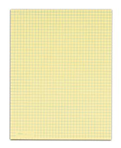 TOPS Quadrille Pad, Gum-Top, 8-1/2 x 11 Inches, Quad Rule (4 x 4), Canary Paper, 50 Sheets per Pad, 12 Pads per Pack (3313)