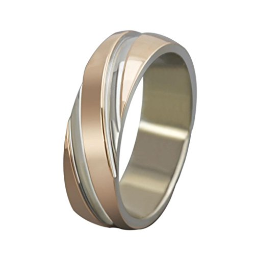 Amdxd Jewelry Stainless Steel Plating Rose Gold Women'S Fashion Finger Ring Width 6Mm Us Size 8