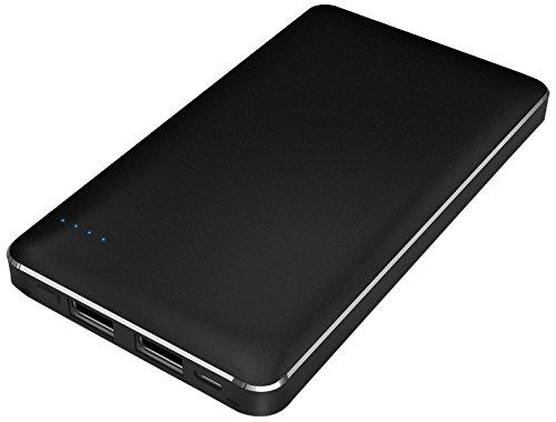 【Amazon.co.jp限定】SMILE WORLD 10,000mAh モバイルバッテリー 2USBポート同時充電可能 リチウムポリマー電池使用 メタルブラック SWA-1-BK 【フラストレーションフリーパッケージ(FFP)】