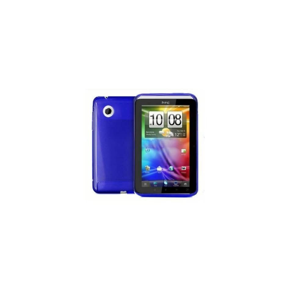 mobile palace  Blue silicone skin case cover with screen protector for Htc flyer